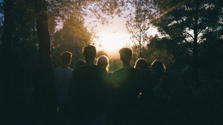 Group of people watching the sunset in a forest